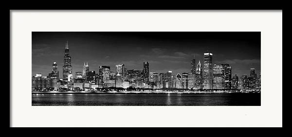 Chicago Skyline Framed Print featuring the photograph Chicago Skyline At Night Black And White by Jon Holiday