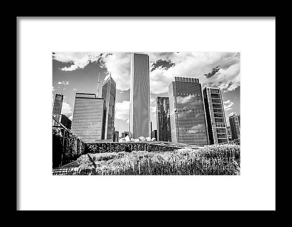 America Framed Print featuring the photograph Chicago Skyline Lurie Garden Black And White Picture by Paul Velgos