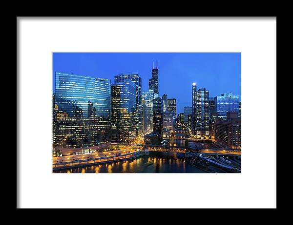 Tranquility Framed Print featuring the photograph Chicago Skyline by Michael Lee