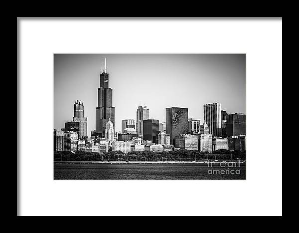 Chicago Skyline With Sears Tower In Black And White Framed Print by ...