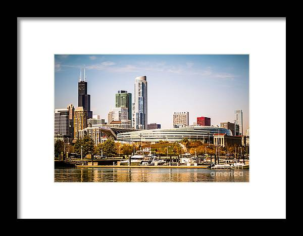 America Framed Print featuring the photograph Chicago Skyline With Soldier Field by Paul Velgos