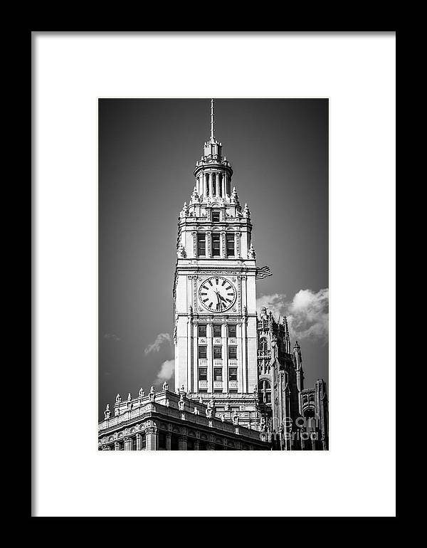 America Framed Print featuring the photograph Chicago Wrigley Building Clock Black And White Picture by Paul Velgos