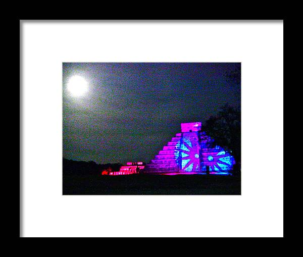 Chichen Itza Framed Print featuring the photograph Chichen Itza Full Moon by Dashama Gordon