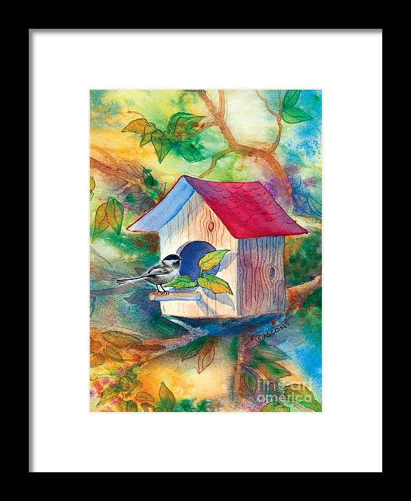 Chickadee Framed Print featuring the painting Chickadee Bungalow by Teresa Ascone