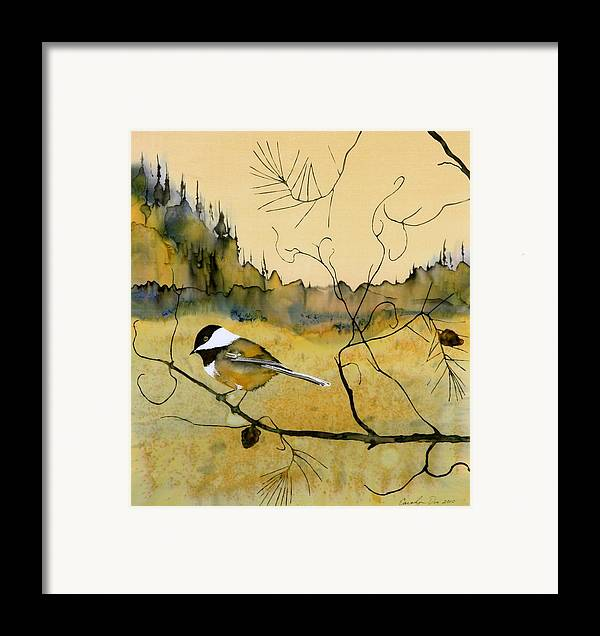Chickadee Framed Print featuring the tapestry - textile Chickadee In Dancing Pine by Carolyn Doe