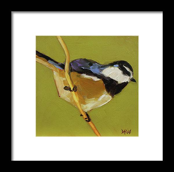 Birds Framed Print featuring the painting Chickadee V by Sue Darius