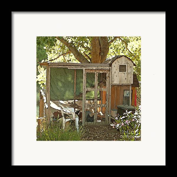 Rooster Art Framed Print featuring the painting Chicken Coop On The Farm by Artist and Photographer Laura Wrede
