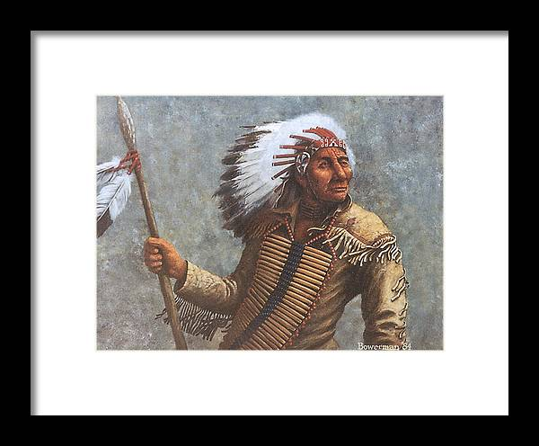 Native American Framed Print featuring the painting Chief Knife by Lee Bowerman