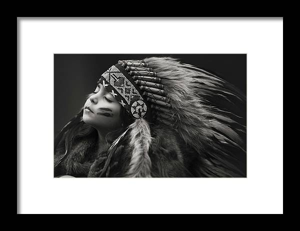 Native American Framed Print featuring the photograph Chief Of Her Dreams by Carmit Rozenzvig
