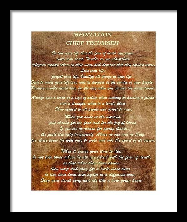 Chief Tecumseh Poem by Dan Sproul