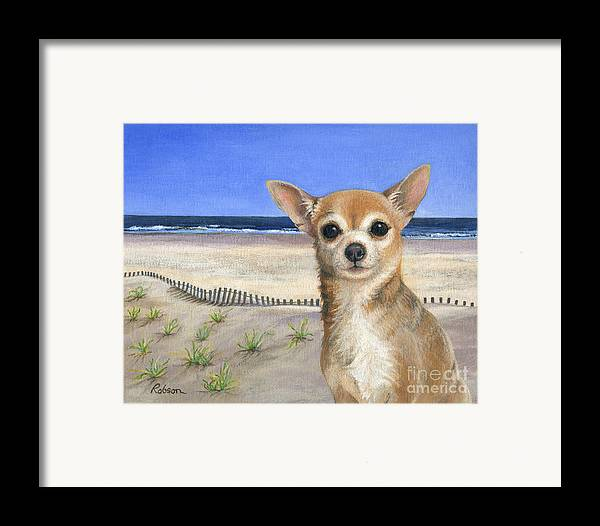 Chihuahua Framed Print featuring the painting Chihuahua At Sea Isle City New Jersey by Peggy Dreher
