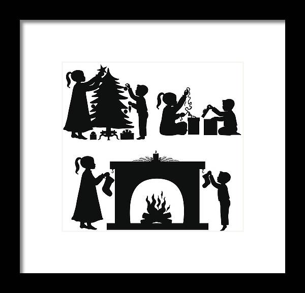 Christmas Silhouette.Children At Christmas Silhouettes Framed Print