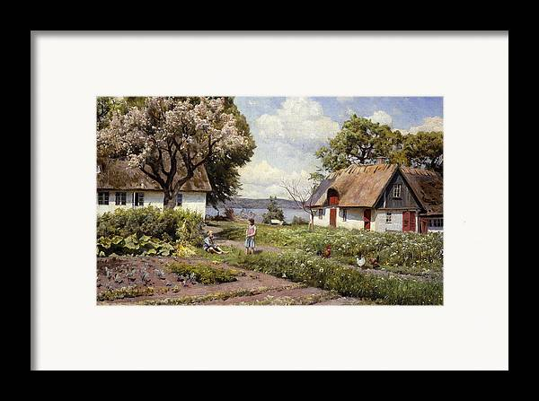 1930s Framed Print featuring the painting Children In A Farmyard by Peder Monsted