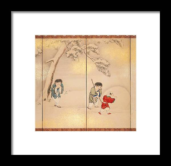 Maruyama Oshin Framed Print featuring the painting Children Playing In Summer And Winter by Maruyama Oshin