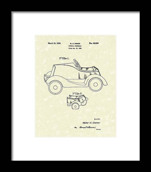 Diemer Framed Print featuring the drawing Child's Car by Prior Art Design