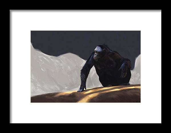 Chimp Framed Print featuring the digital art Chimp Contemplation by Aaron Blaise