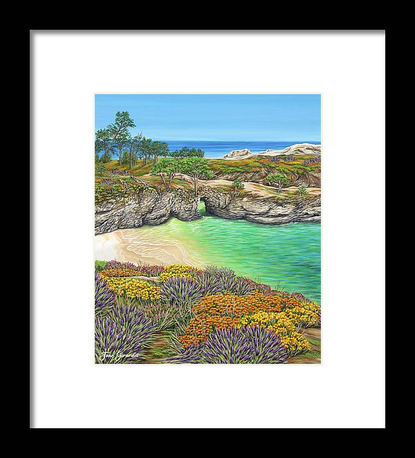Ocean Framed Print featuring the painting China Cove Paradise by Jane Girardot