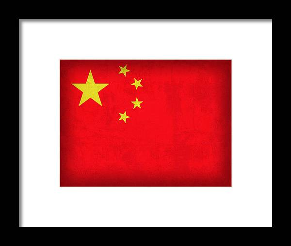 China Flag Vintage Distressed Finish Framed Print featuring the mixed media China Flag Vintage Distressed Finish by Design Turnpike