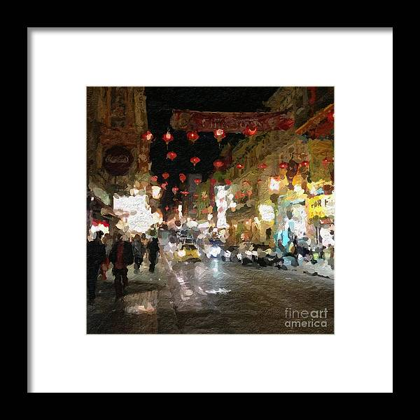 san Francisco Framed Print featuring the painting China Town At Night by Linda Woods