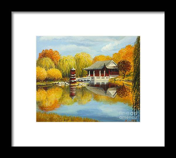 Architecture Framed Print featuring the painting Chinese Garden In Berlin by Kiril Stanchev