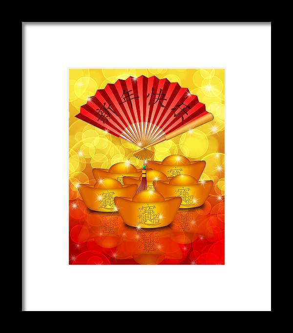 Chinese Framed Print featuring the digital art Chinese Gold Bars And Fan With Text Happy New Year by Jit Lim