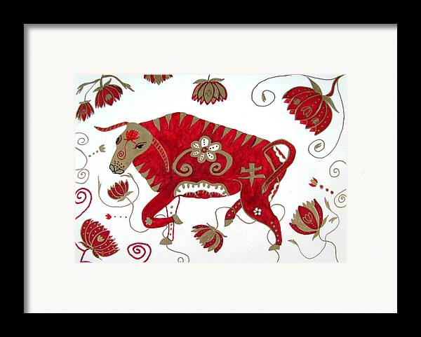Ox Framed Print featuring the drawing Chinese Year Of The Ox by Barbara Giordano