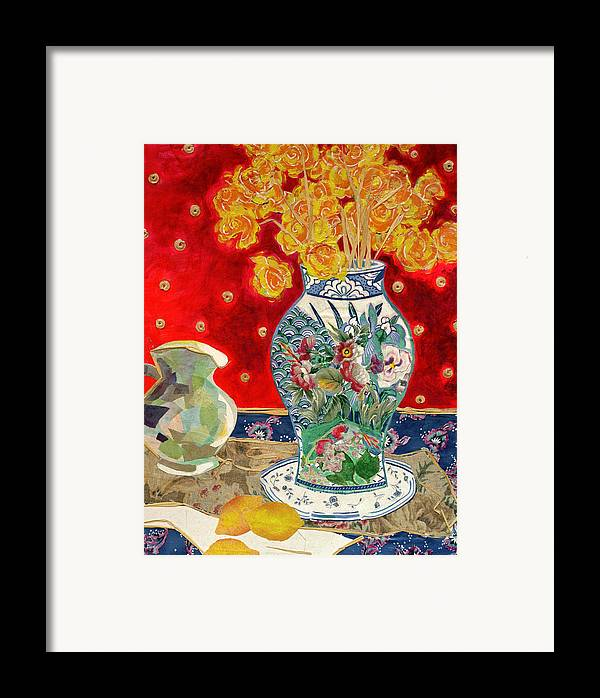 Flowers In A Vase Framed Print featuring the mixed media Chinoiserie by Diane Fine