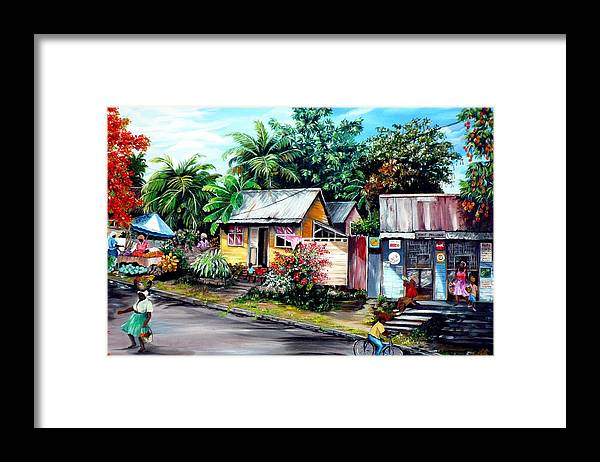 Landscape Painting Caribbean Painting Shop Trinidad Tobago Poinciana Painting Market Caribbean Market Painting Tropical Painting Framed Print featuring the painting Chins Parlour   by Karin Dawn Kelshall- Best