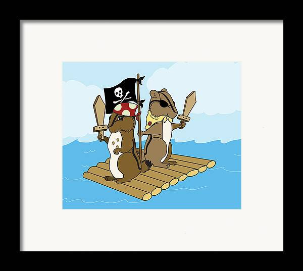 Chipmunk Framed Print featuring the digital art Chipmunk Pirate Dash And Scoot by Christy Beckwith