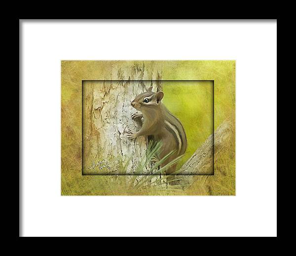 Chipmunk Framed Print featuring the digital art Chippie by Diane Hagler