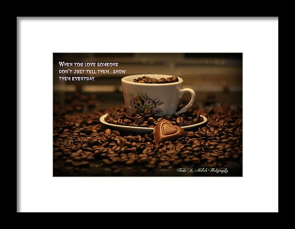 Chocolate Framed Print featuring the photograph Chocolate Coffee by Freda Nichols