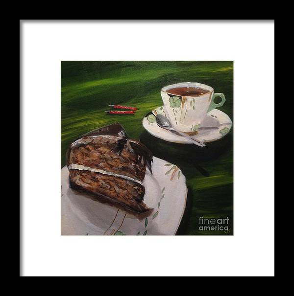 Cake Framed Print featuring the painting Chocolate Hazelnut Cake And Art Deco Fine China by John Klein