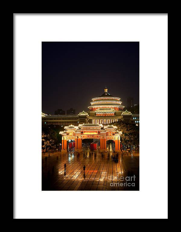 City Framed Print featuring the photograph Chongqing's People's Square by Fototrav Print