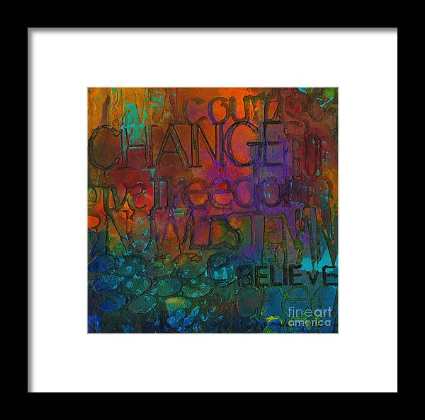 Abstract Mixed Media Framed Print featuring the mixed media Choose Your Words Carefully by Angela L Walker