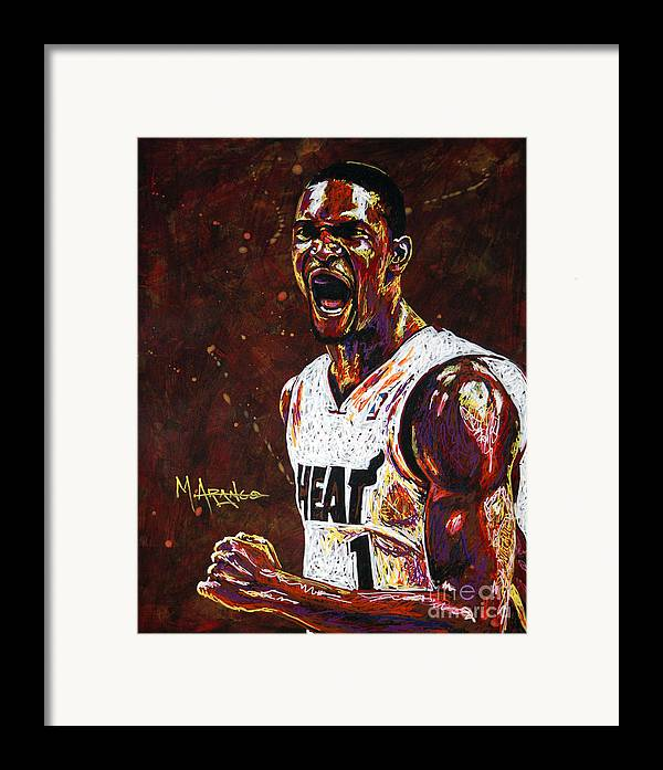 Chris Framed Print featuring the painting Chris Bosh by Maria Arango
