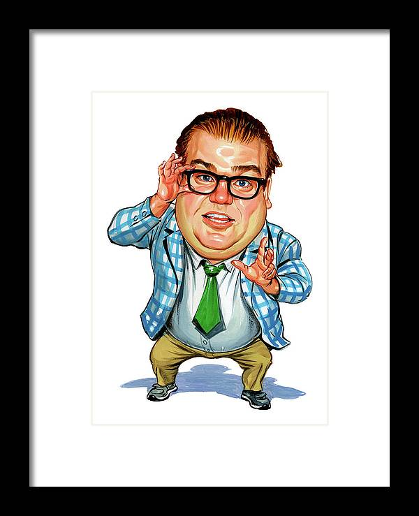 Chris Farley Framed Print featuring the painting Chris Farley As Matt Foley by Art