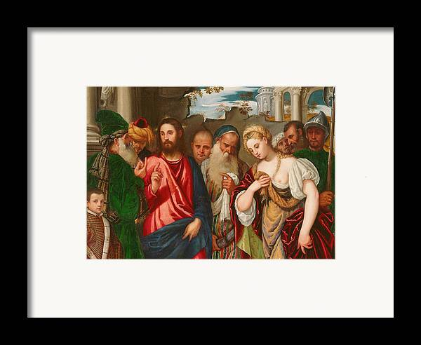 Son Of God Framed Print featuring the painting Christ And The Woman Taken In Adultery by Veronese