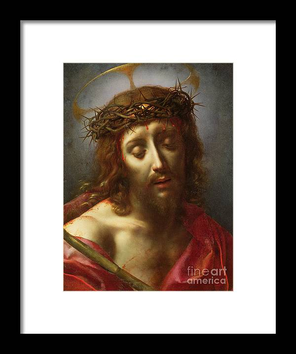 Man Of Sorrows; Ecce Homo; Crown Of Thorns; Jesus Framed Print featuring the painting Christ As The Man Of Sorrows by Carlo Dolci