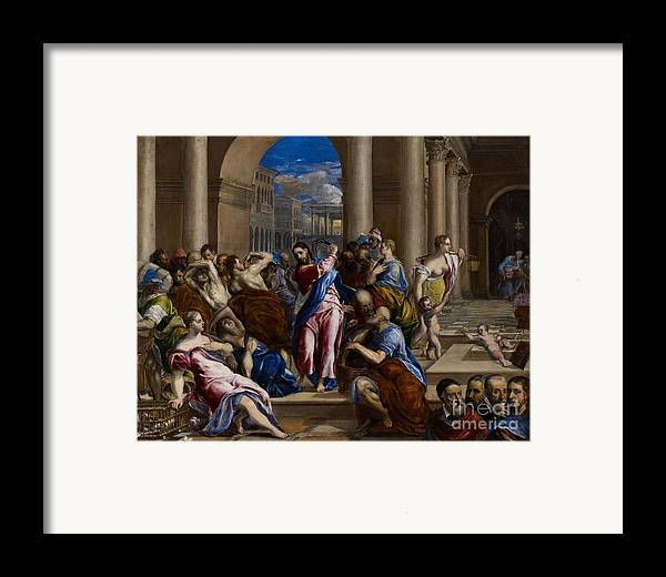 Jesus Framed Print featuring the painting Christ Driving The Money Changers From The Temple by El Greco