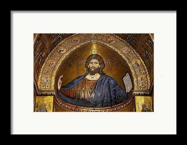Christ Framed Print featuring the photograph Christ Pantocrator Mosaic by RicardMN Photography