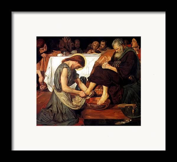 Christ Washing Peter's Feet Framed Print featuring the painting Christ Washing Peter's Feet by Ford Madox Brown