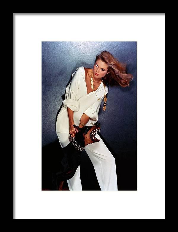 Accessories Framed Print featuring the photograph Christie Brinkley Wearing Geoffrey Beene Pajamas by Chris Von Wangenheim