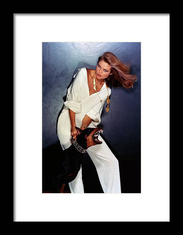 Accessories Framed Print featuring the photograph Christie Brinkley Wearing Geoffrey Beene Pajamas by Chris Von Wangenheim