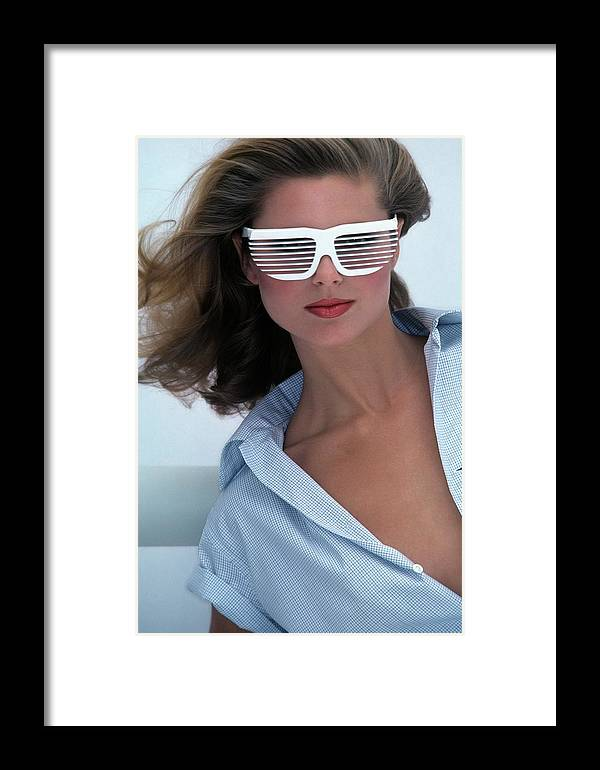 044b4c772309 Accessories Framed Print featuring the photograph Christie Brinkley Wearing  R&d Volpini Sunglasses by Jacques Malignon