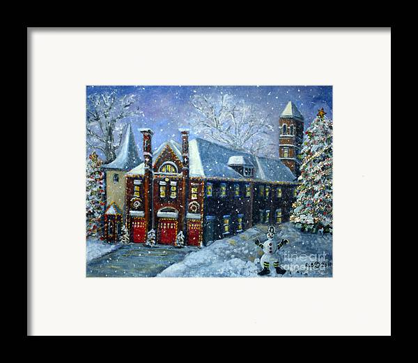 Waltham Framed Print featuring the painting Christmas At The Fire House by Rita Brown