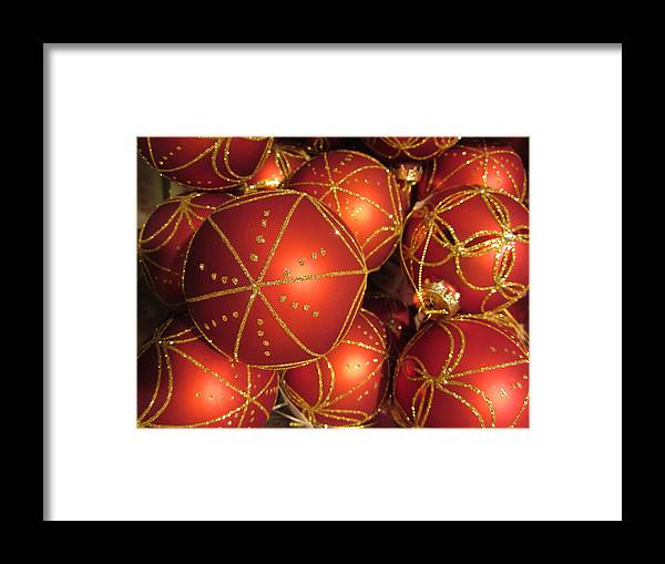 Christmas Card Framed Print featuring the photograph Christmas Balls In Red And Gold by Rosita Larsson