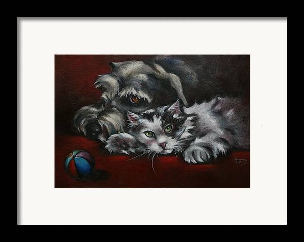 Dog Framed Print featuring the painting Christmas Companions by Cynthia House