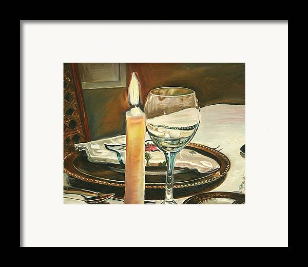 Still Life Framed Print featuring the painting Christmas Dinner With Place Setting by Jennifer Lycke