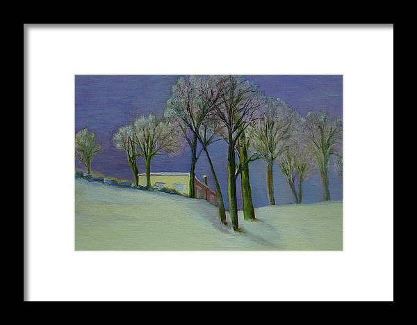 Christmas Card Framed Print featuring the painting Christmas Eve       Copyrighted by Kathleen Hoekstra