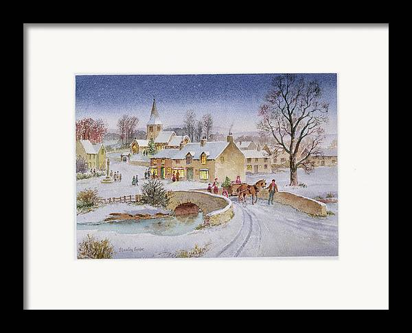 Rural; Snow; Winter; Horse And Cart; Tree; Evening; Bridge; Cross; Christmas Framed Print featuring the painting Christmas Eve In The Village by Stanley Cooke